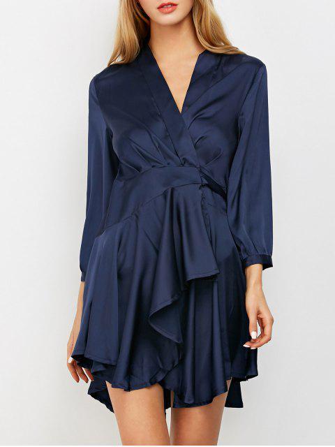 online Satin Wrap Robe Tea Dress - PURPLISH BLUE S Mobile