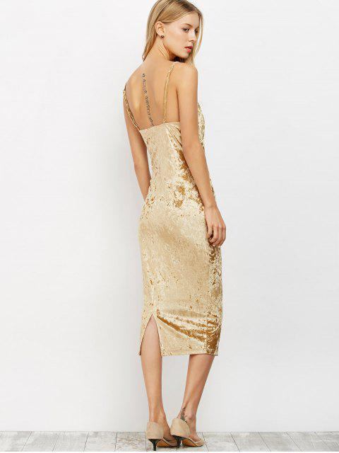 shop Strappy Crushed Velvet Midi Pencil Dress - KHAKI M Mobile