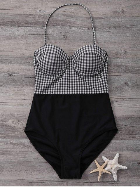 best Bandeau High Waisted Plaid Swimwear - BLACK M Mobile