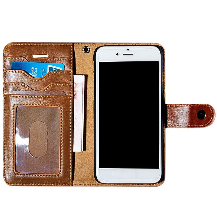 Faux Leather Flip Wallet Case with Card Slot For iPhone thumbnail