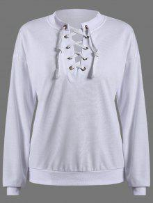 Lace Up Col Rond Sweat-shirt - Blanc M