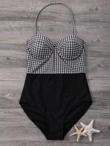 Bandeau High Waisted Plaid Swimwear - Black M