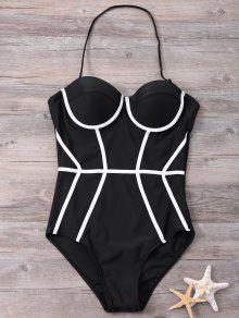 Halter Color Block One Piece Tankini - Black M