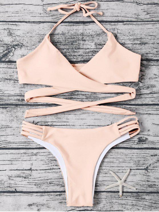 Bindeband Halter gewicktes Bikini Set - hell Aprikose pink  M