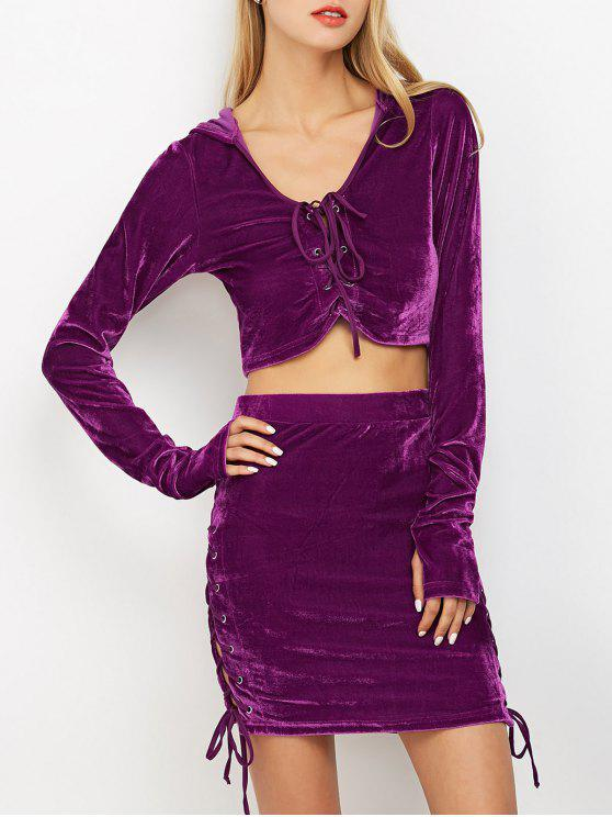 ee40d36e4698c 36% OFF  2019 Lace Up Velvet Crop Top With Skirt In PURPLE
