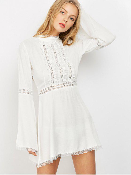 fashion Lace Trim Flare Sleeve Dress - WHITE S