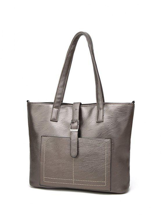 fancy Faux Leather Buckle Strap Shoulder Bag - CHAMPAGNE