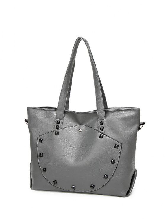 affordable Rivets Faux Leather Shoulder Bag - GRAY