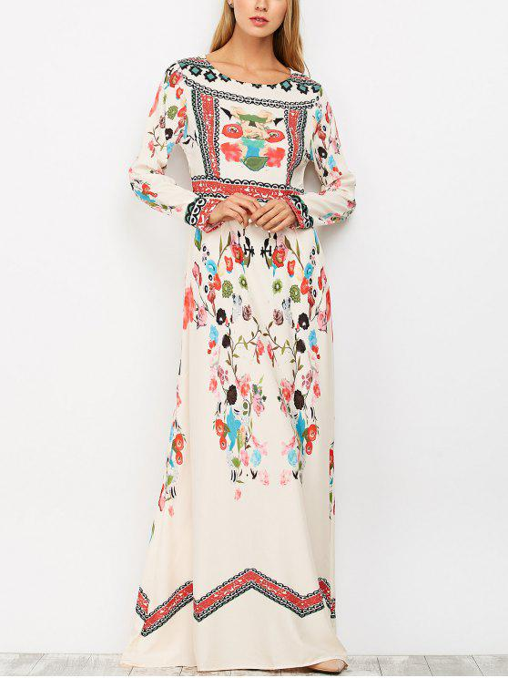 lady Long Sleeve Ethnic Floral Maxi Dress - COLORMIX S