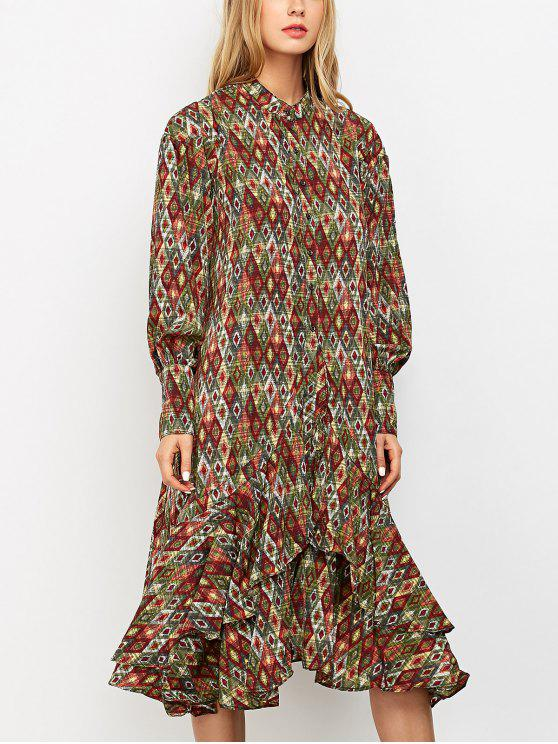 fancy Vintage Printed Boho Chiffon Dress - COLORMIX L