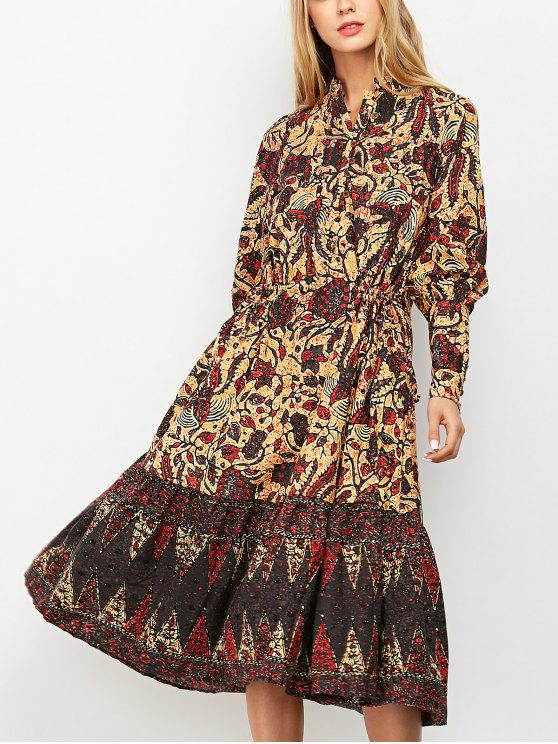 hot Floral Print Vintage Midi Dress - COLORMIX M