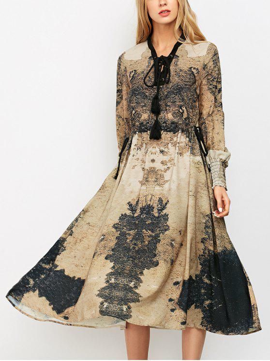 Midi Vestido de Bohemia con Cordón Combinado con Estampado - Caqui M