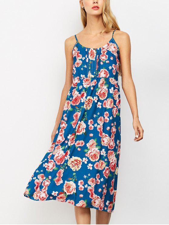 womens Sleeveless Spaghetti Strap Floral Print Dress - BLUE ONE SIZE