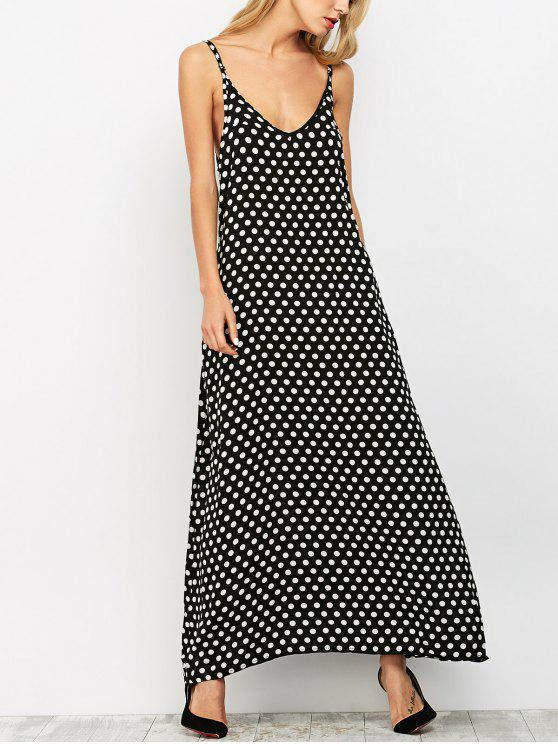 chic Polka Dot Maxi Slip Dress - BLACK XL