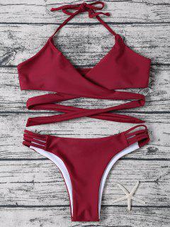 Strappy Halter Wrap Bikini Set - Wine Red M