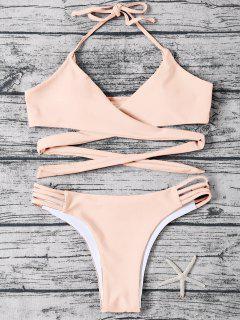 Strappy Halter Wrap Bikini Set - Light Apricot Pink M