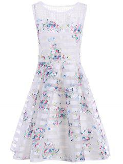 Sleeveless Semi Sheer Floral A Line Dress - White S