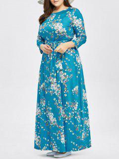 Plus Size Tie Belt Tiny Floral Maxi Dress - Lake Blue 3xl