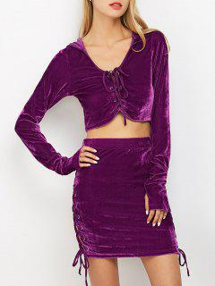 Lace Up Velvet Crop Top With Skirt - Purple S
