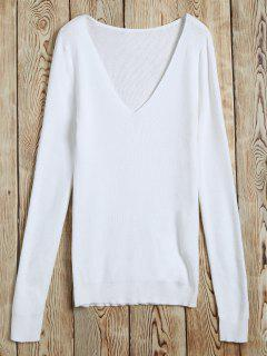 Ribbed V Neck Jumper - Blanc S