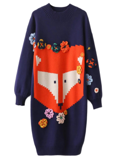 Lantern Sleeve Jacquard Sweater Dress - Blue