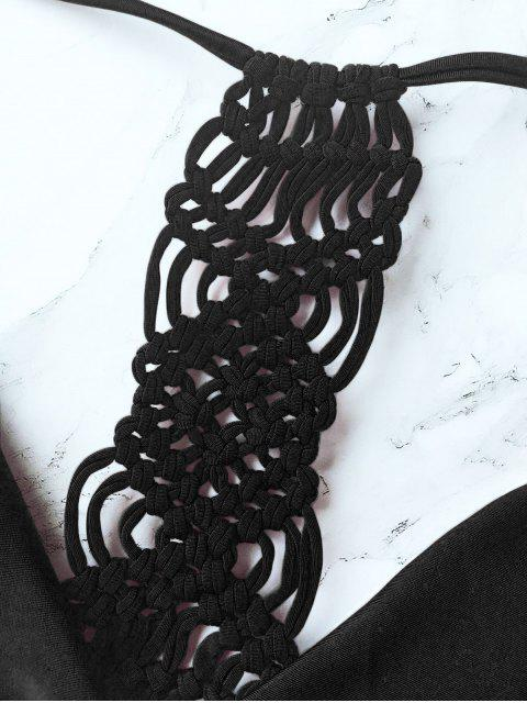 women's Knitting Strappy Bikini Set - BLACK S Mobile