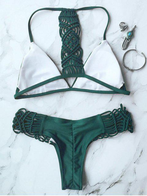 ladies Knitting Strappy Bikini Set - GREEN L Mobile