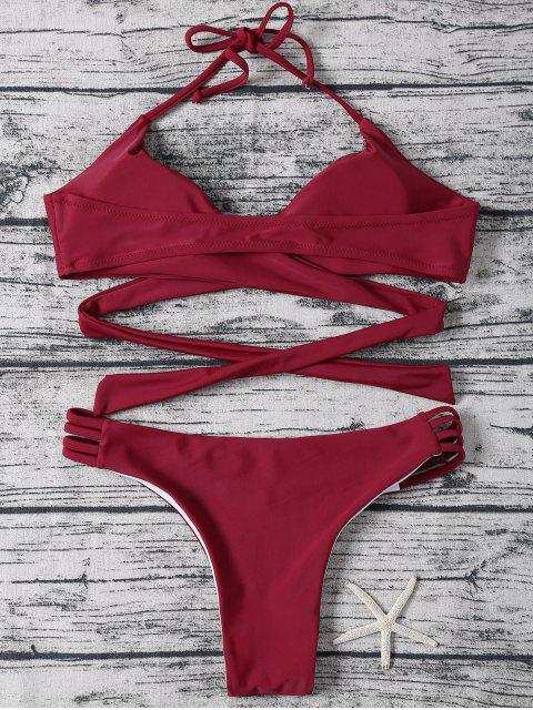 ladies Strappy Halter Wrap Bikini Set - WINE RED XL Mobile