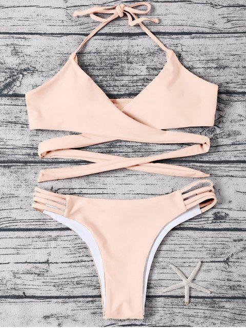trendy Strappy Halter Wrap Bikini Set - LIGHT APRICOT PINK L Mobile