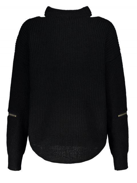 women Cut Out Chunky Choker Sweater - BLACK ONE SIZE Mobile