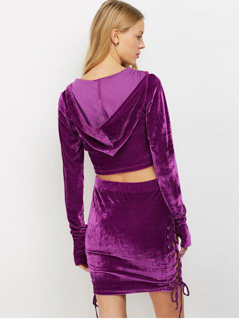 sale Lace Up Velvet Crop Top with Skirt - PURPLE S Mobile