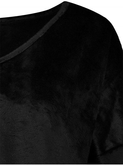 chic Loose Long V Neck Sweater - BLACK M Mobile