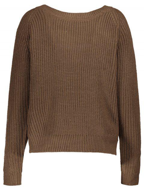 buy Boat Neck Loose Sweater - COFFEE ONE SIZE Mobile