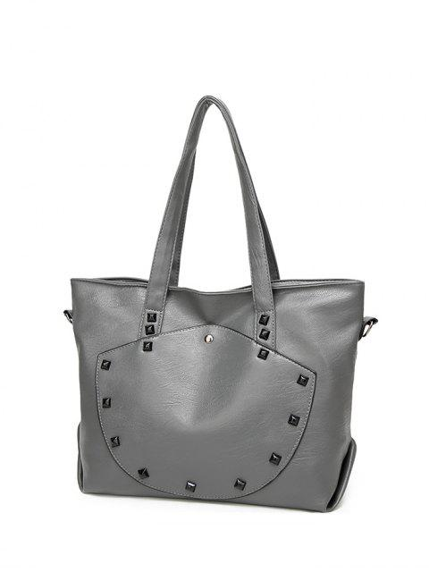 affordable Rivets Faux Leather Shoulder Bag - GRAY  Mobile