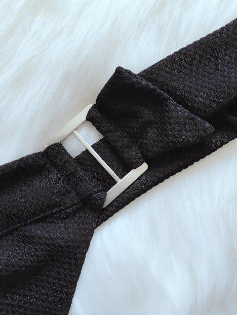 shop Tie Back Plunge Swim Top - BLACK M Mobile