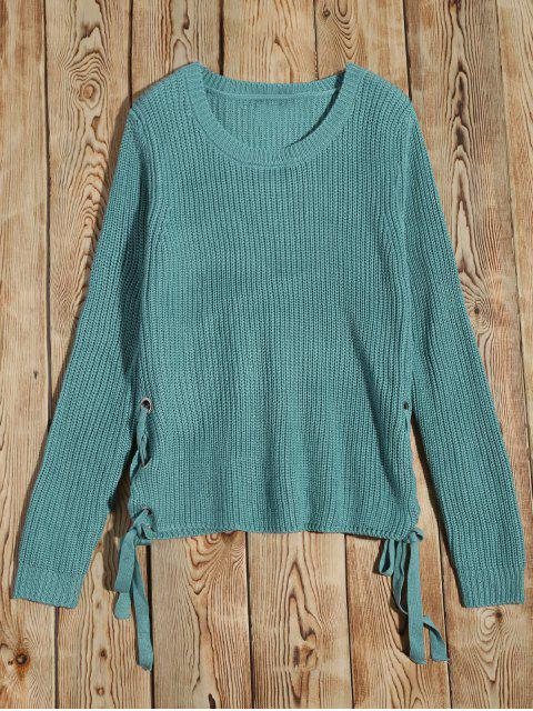 Col rond Lace Up Sweater - Pers M Mobile
