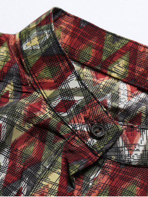 fashion Vintage Printed Boho Chiffon Dress - COLORMIX S Mobile