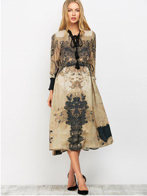 unique Printed Lace Up Bohemain Midi Dress - KHAKI M Mobile