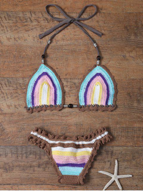 Colored Striped Halter Crochet Bikini Set - Azur Taille Unique(S'adap Mobile
