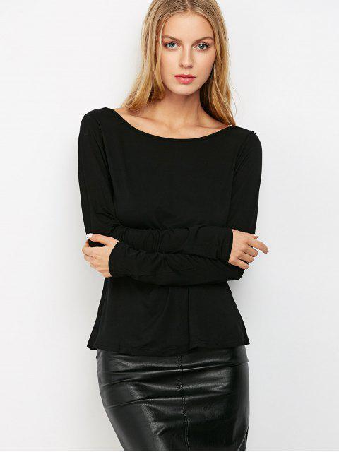 women Long Sleeve Low Back T-Shirt - BLACK XS Mobile