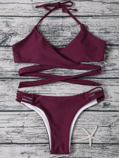 Strappy Halter Wrap Bikini Set - Purplish Red L