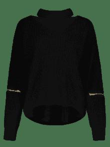 48 Off 2019 Cut Out Chunky Choker Sweater In Black One Size Zaful