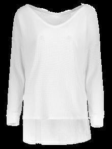 Loose One-Shoulder Sweater WHITE: Sweaters XL | ZAFUL