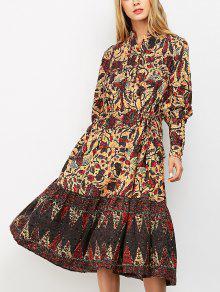فستان ميدي كلاسيكي فانوس الأكمام طباعة الأزهار - S