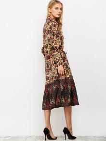 L Floral Con Vestido Vintage Estampado Midi gqYXax