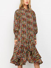 Vintage Printed Boho Chiffon Dress - M