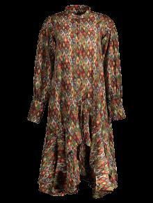 Vintage Estampado De Vestido Con L Gasa Con Volantes wY7xBq7