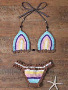 Colored Striped Halter Crochet Bikini Set - Azur