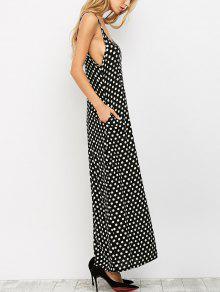 37a7e044ec 26% OFF  2019 Polka Dot Maxi Slip Dress In BLACK