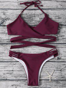 Traje De Bikini Envuelto De Halter Con Cordón - Rojo Purpúreo S